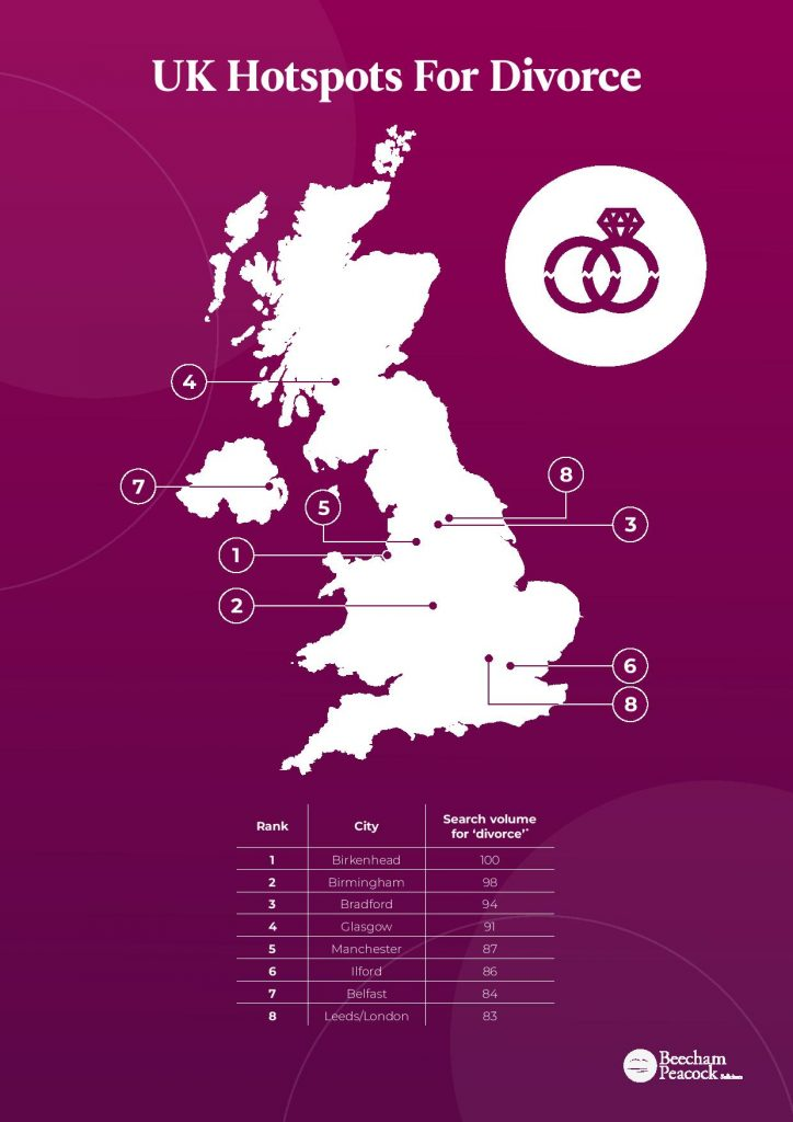 Purple map of divorce hotspots for UK